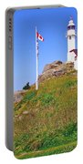 Lobster Cove Lighthouse With Blue Sky In Gros Morne Np-nl Portable Battery Charger