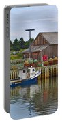Lobster Fishing Baskets And Boats In Forillon Np-qc Portable Battery Charger