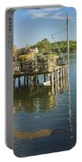 Lobster Traps On Pier In Round Pound On The Coast Of Maine Portable Battery Charger