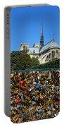 Locks Galore On The Pont De L'archeveche In Paris Portable Battery Charger