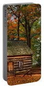 Log Cabin In Autumn Color Portable Battery Charger