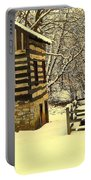 Log Cabin In The Snow Portable Battery Charger