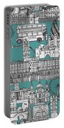 London Toile Blue Portable Battery Charger