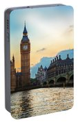 London Uk Big Ben The Palace Of Westminster At Sunset Portable Battery Charger