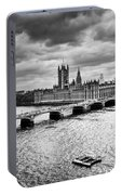 London Uk Big Ben The Palace Of Westminster In Black And White Portable Battery Charger