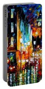 Londons Lights - Palette Knife Oil Painting On Canvas By Leonid Afremov Portable Battery Charger