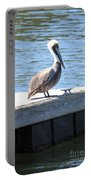 Lone Pelican On Pier Portable Battery Charger
