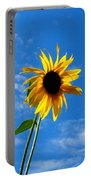 Lone Sunflower In A Summer Blue Sky Portable Battery Charger