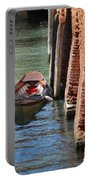 Lonely Boat In Venice Portable Battery Charger