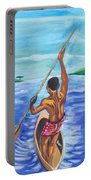 Lonely Boatman In Rwanda Portable Battery Charger