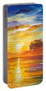 Lonely Sea 2 - Palette Knife Oil Painting On Canvas By Leonid Afremov Portable Battery Charger