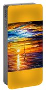 Lonely Sea 3 - Palette Knife Oil Painting On Canvas By Leonid Afremov Portable Battery Charger
