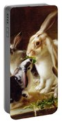 Long-eared Rabbits In A Cage Watched By A Cat Portable Battery Charger by Horatio Henry Couldery