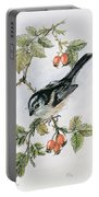 Long Tailed Tit And Rosehips Portable Battery Charger