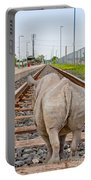 Rhino On A Railway Track Portable Battery Charger