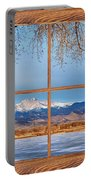 Longs Peak Across The Lake Barn Wood Picture Window Frame View Portable Battery Charger