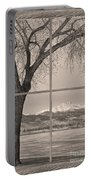 Longs Peak Winter Lake Barn Wood Picture Window Sepia View Portable Battery Charger