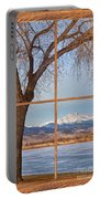 Longs Peak Winter Lake Barn Wood Picture Window View Portable Battery Charger