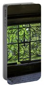 Looking Through Old Basement Window On To Vibrant Green Foliage Fine Art Photography Print  Portable Battery Charger