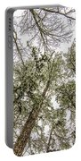 Looking Up At Snow Covered Tree Tops Portable Battery Charger