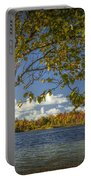 Loon Lake In Autumn With White Birch Tree Portable Battery Charger
