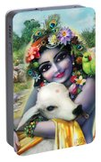Lord Krishna On The Govardhan Portable Battery Charger by Lila Shravani