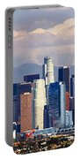 Los Angeles Skyline With Mountains In Background Portable Battery Charger