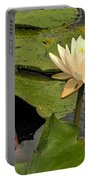 Lotus Flower In White Portable Battery Charger