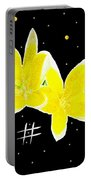 Lotus On Black Portable Battery Charger