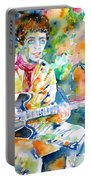 Lou Reed Playing The Guitar - Watercolor Portrait Portable Battery Charger