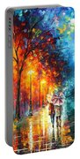Love By The Lake - Palette Knife Oil Painting On Canvas By Leonid Afremov Portable Battery Charger