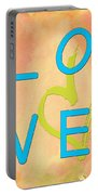 Love In Bright Blue Portable Battery Charger