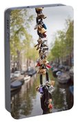 Love Padlocks In Amsterdam Portable Battery Charger