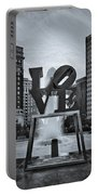 Love Park Bw Portable Battery Charger by Susan Candelario