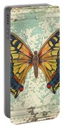 Lovely Yellow Butterfly On Tin Tile Portable Battery Charger