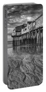 Low Tide At Orchard Beach Black And White Portable Battery Charger by Jerry Fornarotto