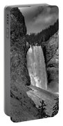 Lower Falls In Yellowstone In Black And White Portable Battery Charger
