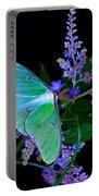Luna Moth Astilby Flower Black Portable Battery Charger