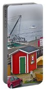 Lunenburg Wharf In The Fog-ns Portable Battery Charger