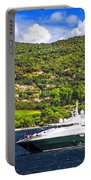 Luxury Yacht At The Coast Of French Riviera Portable Battery Charger