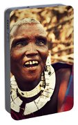 Maasai Old Woman Portrait In Tanzania Portable Battery Charger
