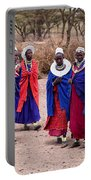 Maasai Women In Front Of Their Village In Tanzania Portable Battery Charger