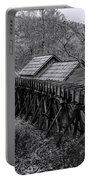 Mabry Mill Water Shute In Black And White Portable Battery Charger