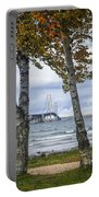 Mackinaw Bridge In Autumn By The Straits Of Mackinac Portable Battery Charger