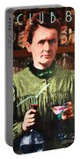 Madame Marie Curie Shaking Up A Killer Martini At The Swank Hipster Club 88 20140625 With Text Portable Battery Charger