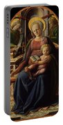 Madonna And Child Enthroned With Two Angels Portable Battery Charger
