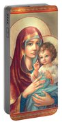 Madonna And Sitting Baby Jesus Portable Battery Charger by Zorina Baldescu
