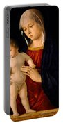 Madonna With The Child Blessing Portable Battery Charger by Giovanni Bellini