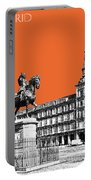 Madrid Skyline Plaza Mayor - Coral Portable Battery Charger