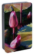 Magenta Lily Pads Portable Battery Charger